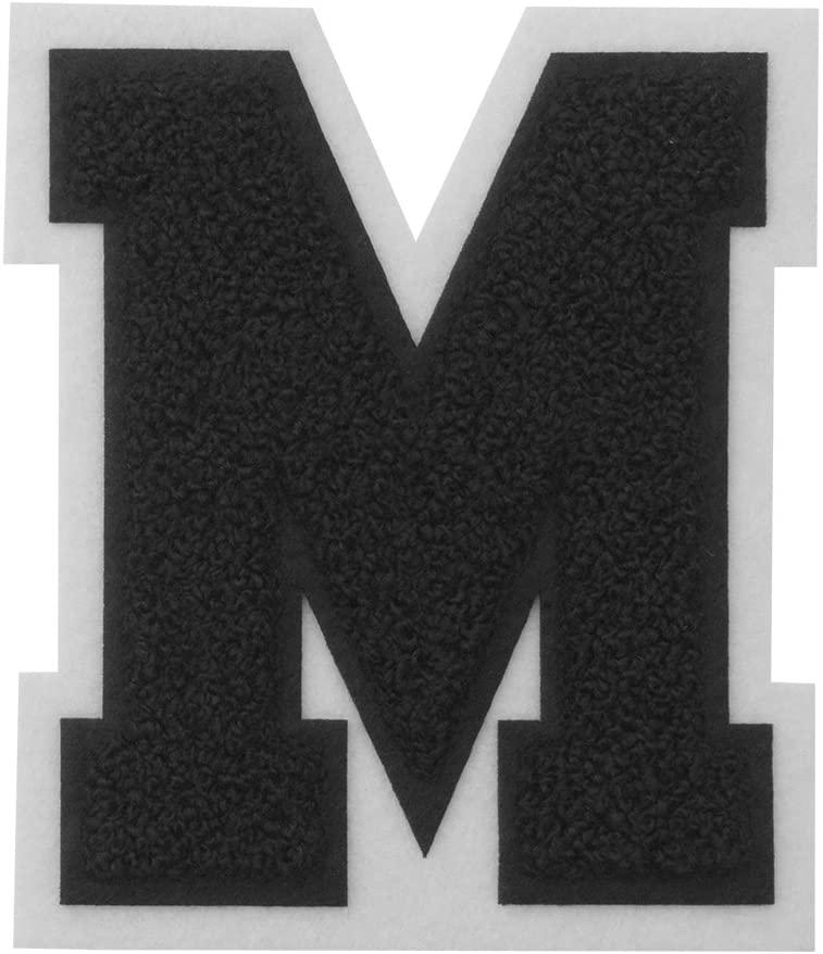 M - Black on White - 4 1/2 Inch Heat Seal/Sew On Chenille Varsity Letter