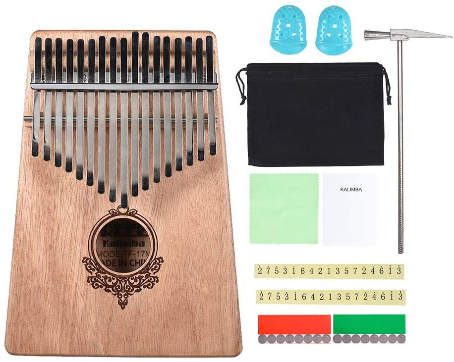 TREELF 17-key Kalimba Portable Thumb Piano Wood Body Musical Instrument Great gifts for Kalimba lovers kids and beginners (Wood color)