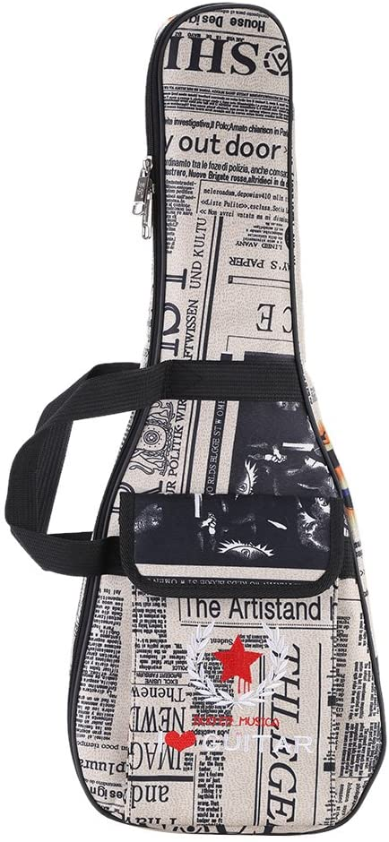 Andoer 24 inch Ukelele Bag Case Paper Pattern Oxford Backpack Adjustable Shoulder Strap Pocket 6mm Thicken Padded