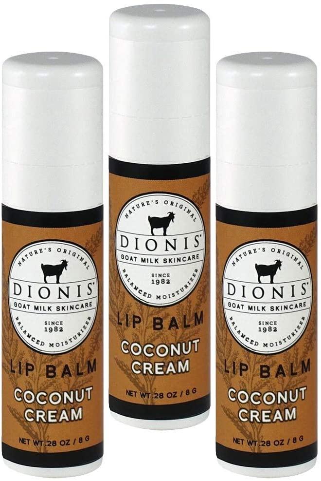 Dionis Goat Milk Lip Balm 3 Piece Gift Set (Coconut Cream, 3 Piece)