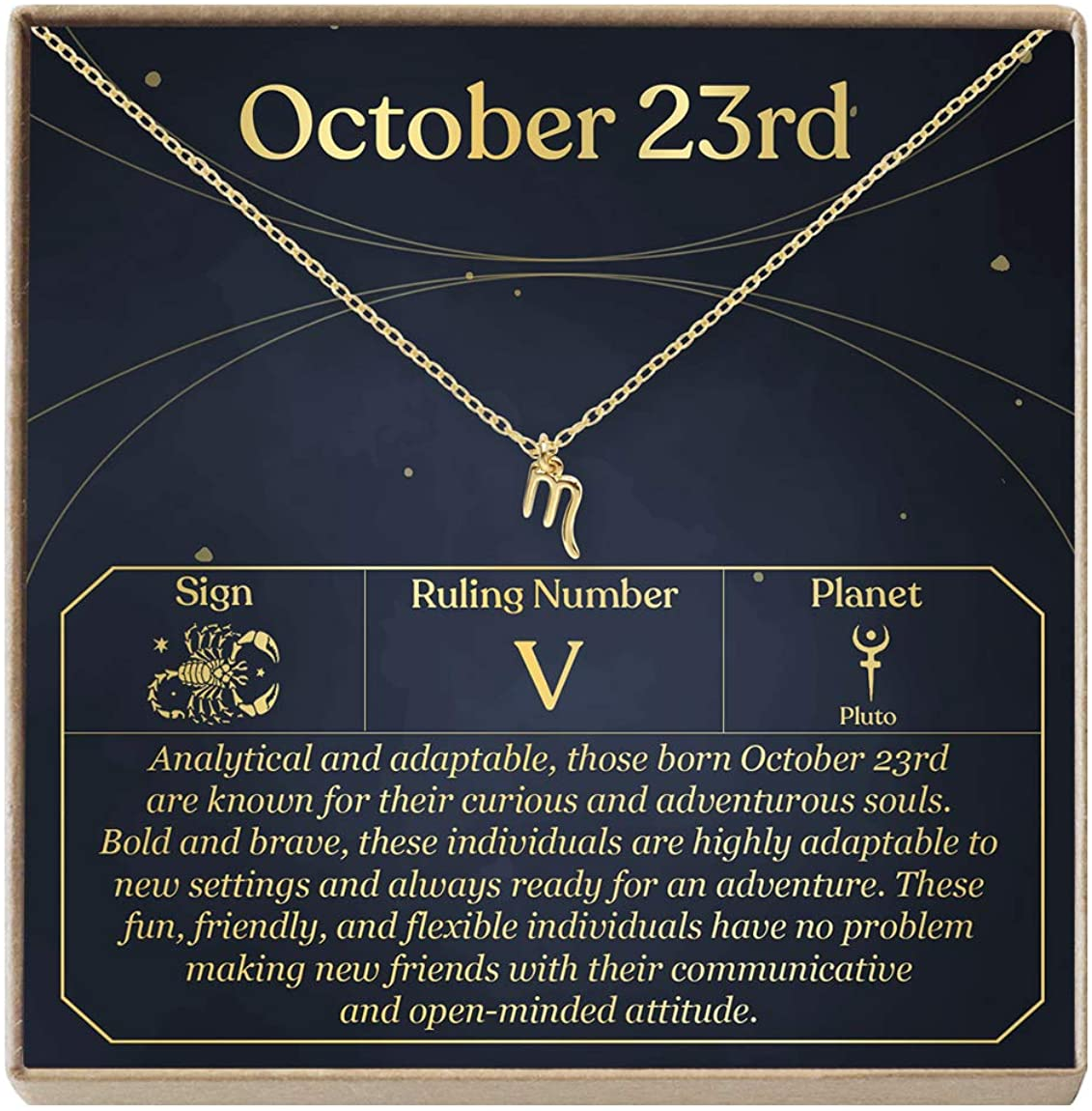 October 23rd Necklace Present for Birthday, Celebration, Gift for Her (Scorpio)