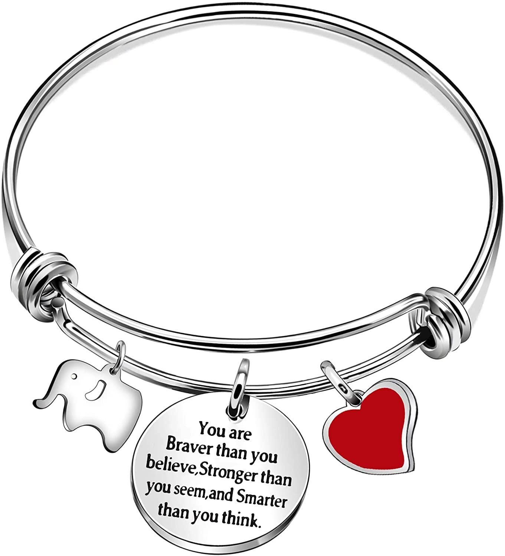 Women Adjustable Silver Encouragement Lettering Elephant Heart Pendant Bracelet