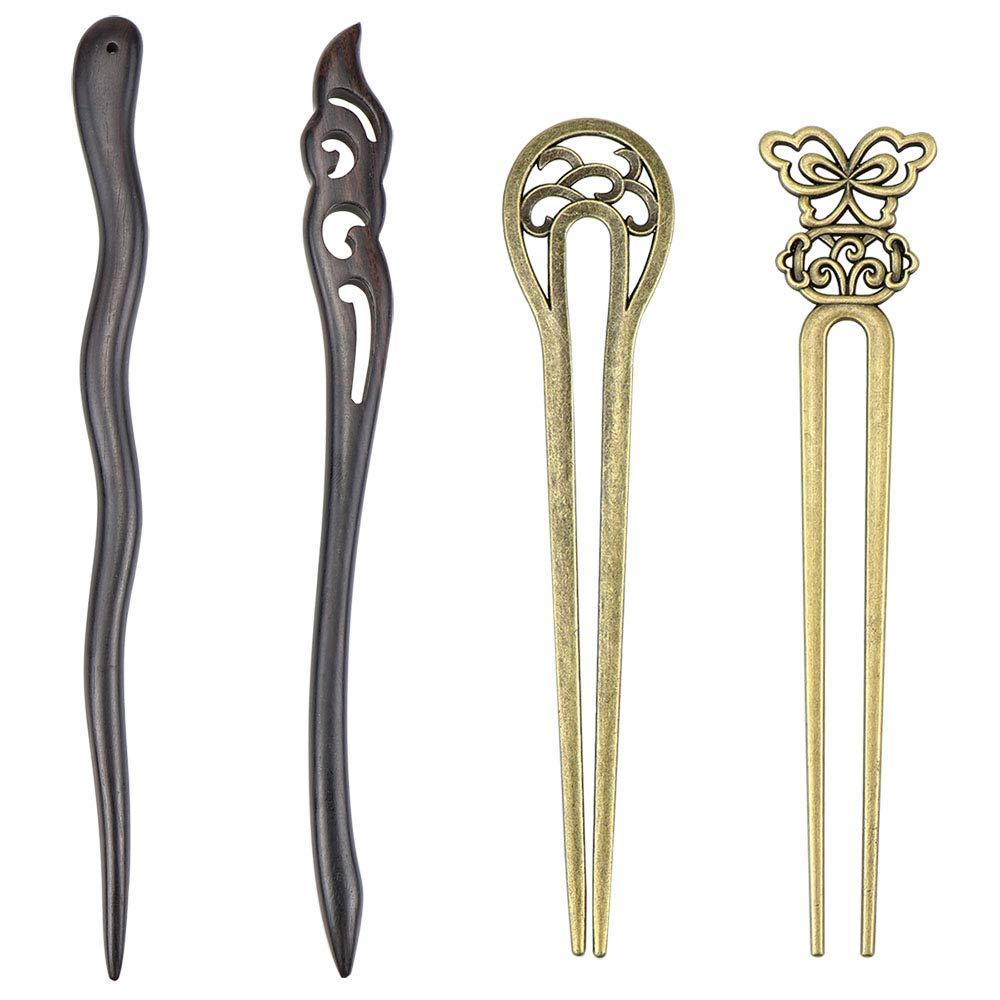 SelfTek 4 Pack Chinese Hair Sticks for Buns Hair Pins for Women Antique Bronze and Wood Hair Chopsticks for Long Hair