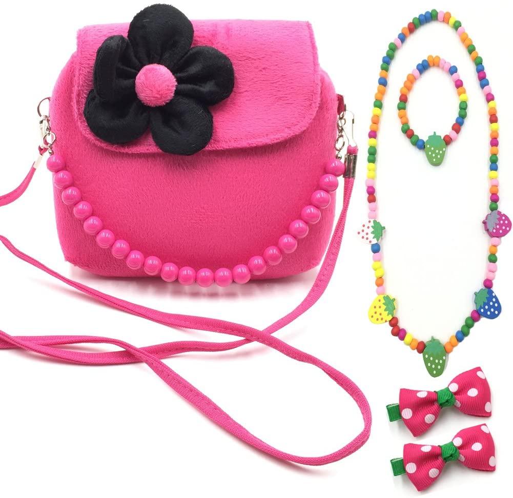 Aligle Little Girl Beauty Set Plush Flower Handbag + 2 Hair Clip + Necklace and Bracelet (Rose)