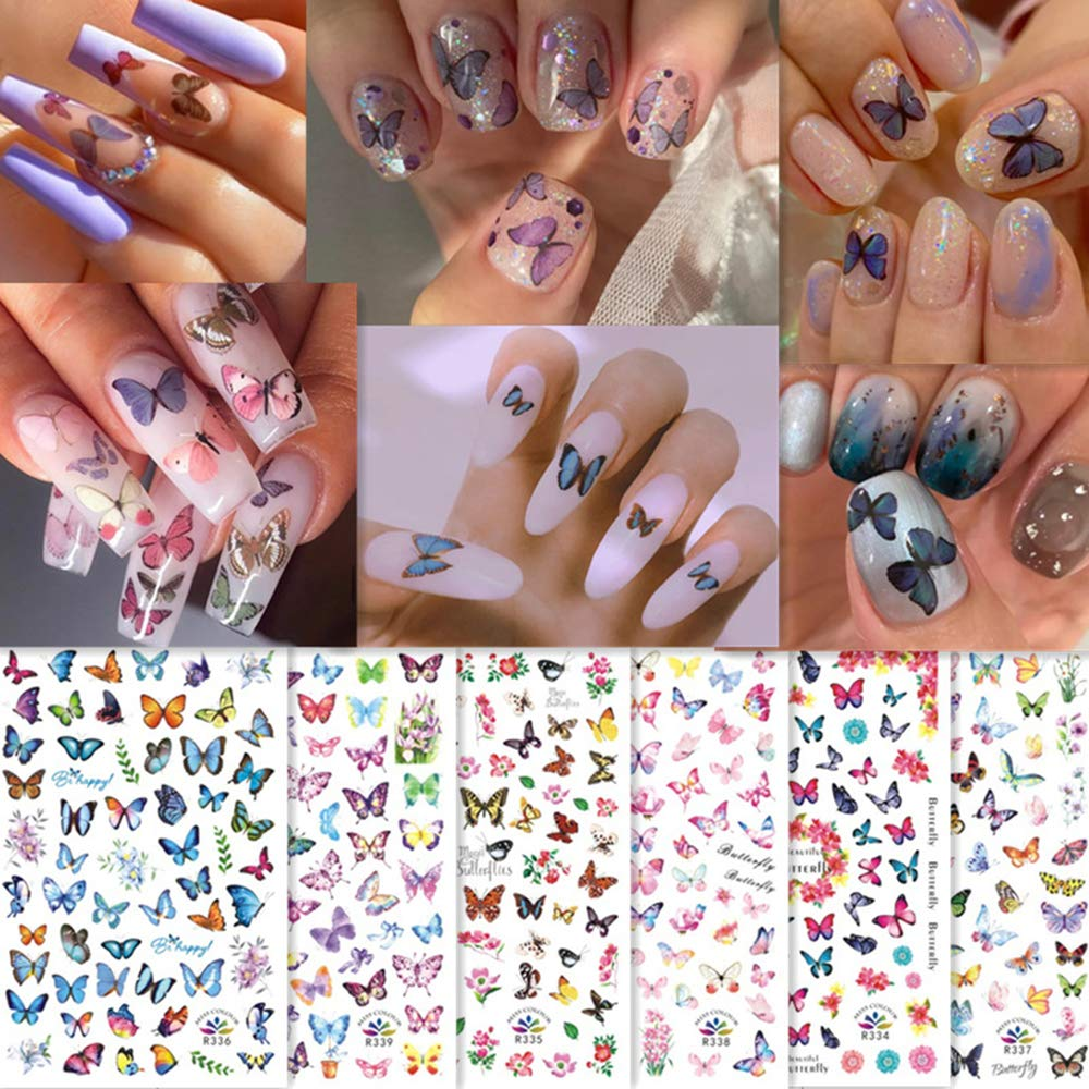 Butterfly Nail Art Stickers 3D Colorful Butterflies Design Charms Nail Decals Nail Art Supplies Flowers Self-Adhesive Foil Tattoo for Women Fingernail Toenail DIY Decorations Accessories 6 Sheets