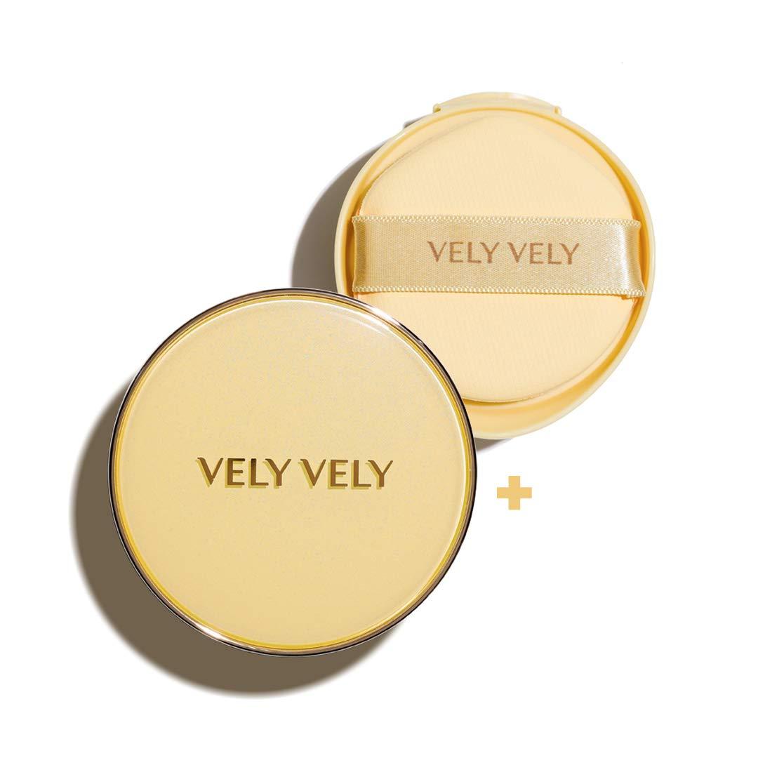 VELY VELY Aura Honey Glow Cushion - Moisturizing Foundation UV block SPF 50+ PA+++, Brightening Anti-Wrinkle Hydrating Liquid Foundation Belgian Spa Water 31% Honey Propolis All Skin Type 15g 0.53oz (#23 Natural + Refill)