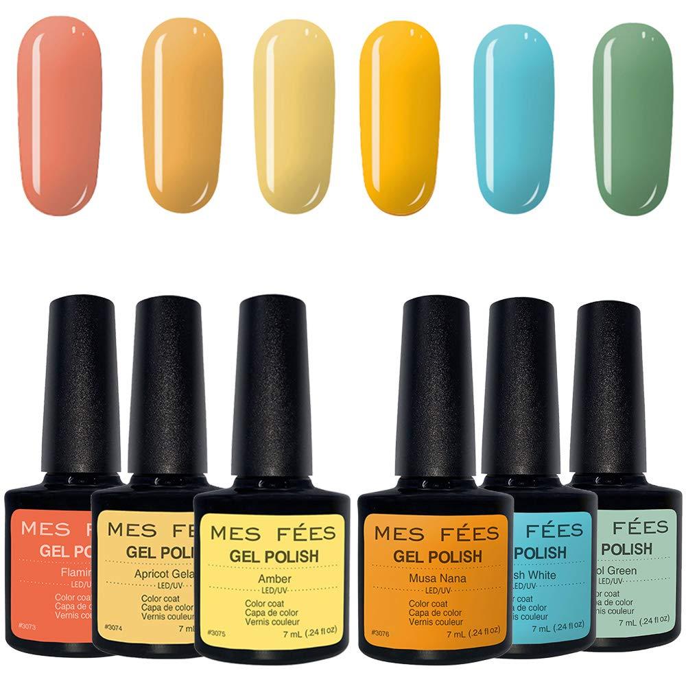 MES FEES 6PCS Gel Nail Polish Kit Soak Off UV LED Lamp Required, Nail Gel Polish Set Summer Yellow Color Gel Polish Shiny Manicure Gel Nails Art 7ml (Yellow Color Series)