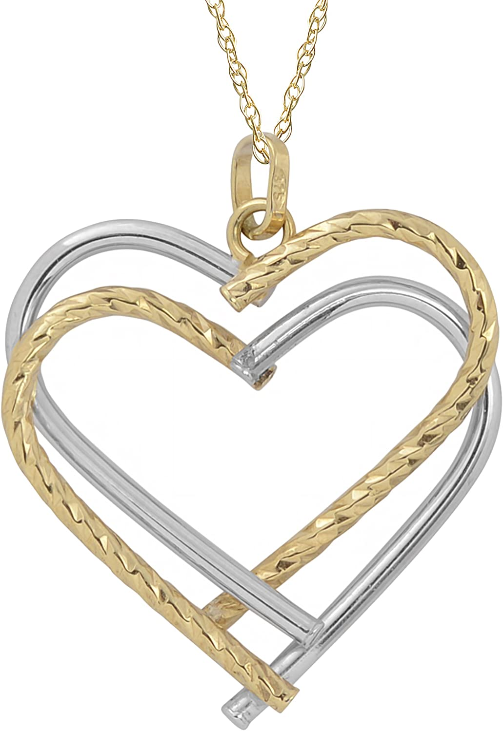 Kooljewelry 10k Two-Tone Gold Double Heart Pendant Rope Chain Necklace (18 inch)