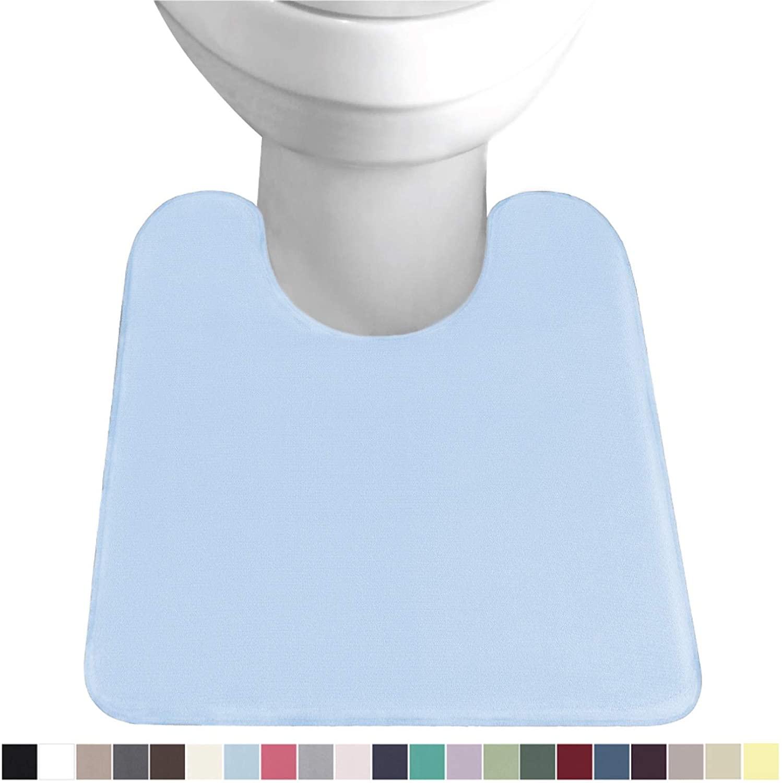Gorilla Grip Original Thick Memory Foam Contour Toilet Bath Rug 22.5x19.5, U Shape, Cushioned, Soft Floor Mats, Absorbent Cozy Bathroom Rugs, Machine Wash and Dry, Plush Bath Room Carpet, Light Blue