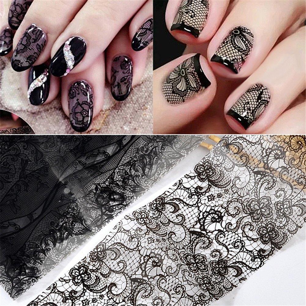 10 roll 420CM Black Nail Art Transfer Foil Lace Flower Nail Foils Transfer Sticker Nail Decoration