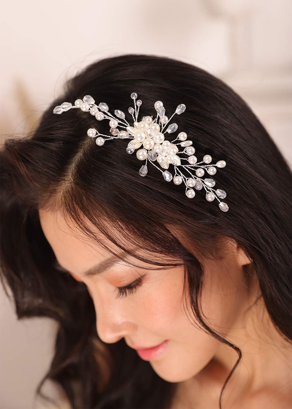 Kercisbeauty Lightweight Hair Comb for Women and Girls Pearl Hair Piece Side Combs for Brides Bridesmaid Flower Girls Boho Jewelry