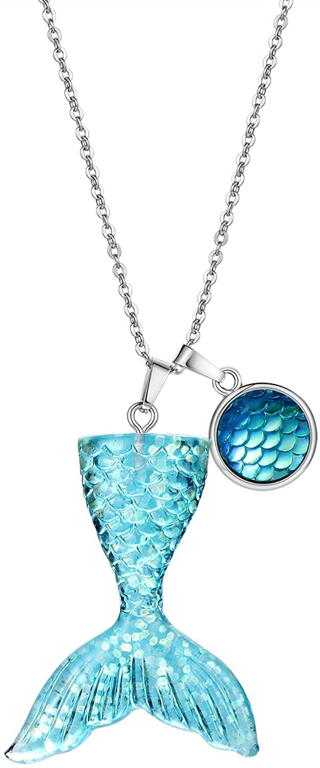 Vinjewelry Mermaid Tail Necklace Party Favors Charm Necklace Best Gifts for Sister Friends 4 Color Choosing