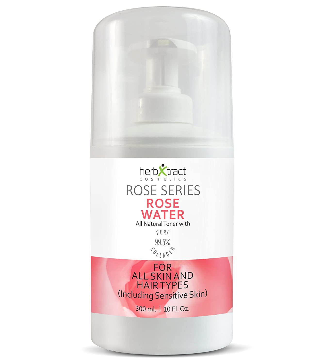 Organic Rose Water Toner with Collagen - 100% Pure Natural Bulgarian Rosewater and Face Moisturizer No Additives - 10 Fluid Ounces Bottle with a Pump by HerbXtract