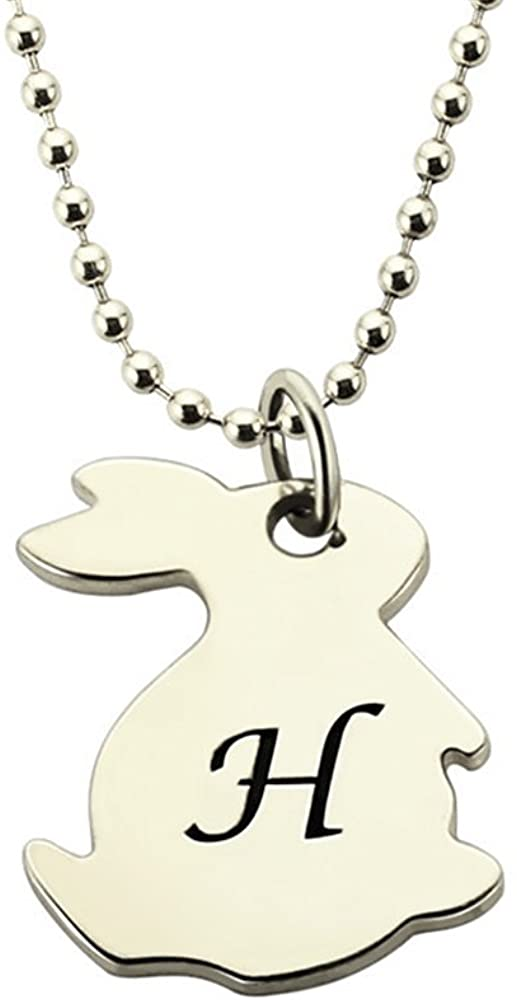 Custom Made Gift Tiny Rabbit Necklace with Initial Personalized Monogram Rabbit Necklace Cute Bunny Initial Pendant (Silver-20 in)