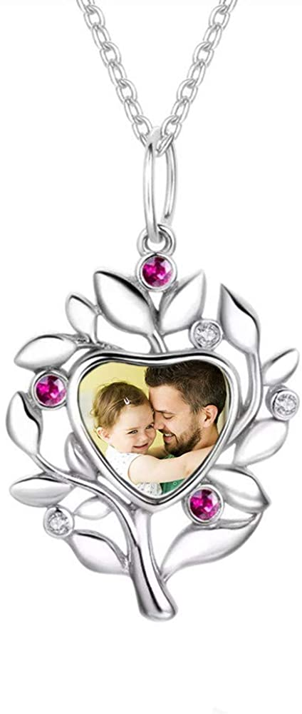FACOCO Women's Customized Photo Necklace Personalized Necklace 925 Silver Tree Pendant Necklace Birthday Gift for Women