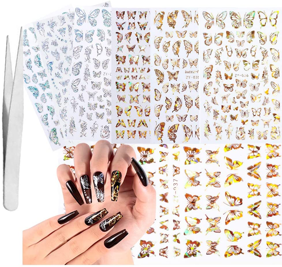 DYJKOUG 8 Pcs Holographics Adhesive 3D Nail Stickers Gold Silver Butterfly Nail Art Decals Decoration with Free Tweezer