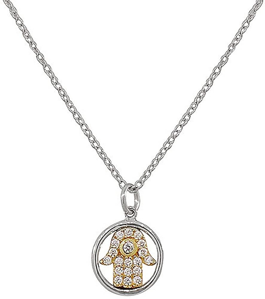 925 Sterling Silver Two-Tone Evil Eye Hamsa White CZ Womens Girls Small Pendant Necklace