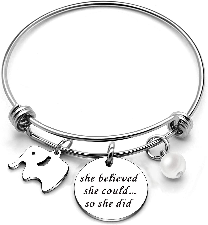 CAROMAY Girls Bangle Bracelets Elephant Graduation Inspiration Gift for Women She Believed She Could