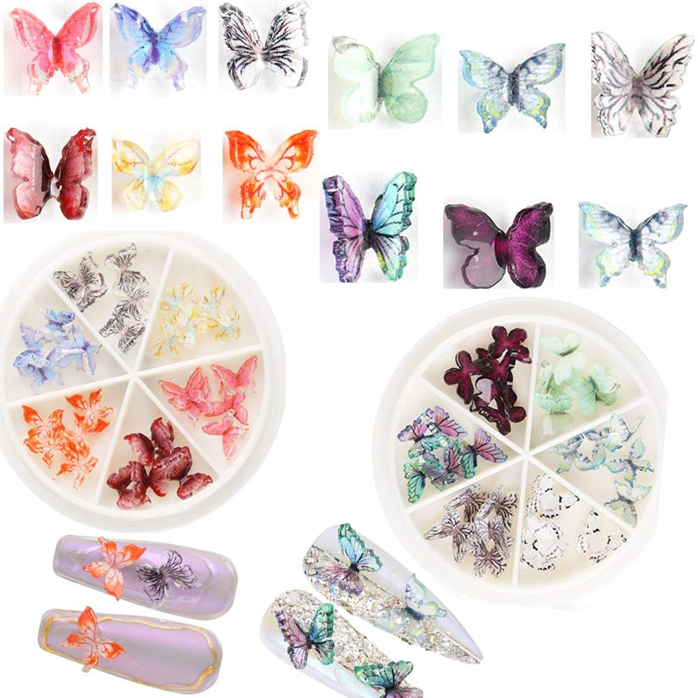 Joour Nail Rhinestones 60 Pieces Butterfly Flakes in 2 Box Manicure Accessories Butterflies Decals AB Crystal Shiny Acrylic Plastic Colorful Nail Rhinestones 3D Holographic Butterflies