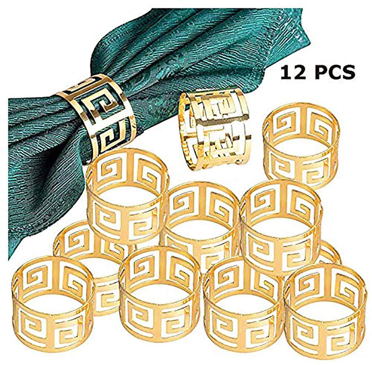 Napkin Ring, 12 Pcs Metal Napkin Holder for Wedding Party Dinner Table Decoration (Gold)
