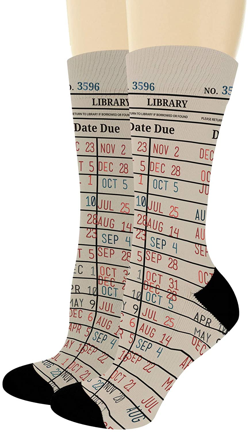 Bookworm Gifts Library Card Socks Book Socks Reading Gifts for Librarians Nerdy Novelty Crew Socks