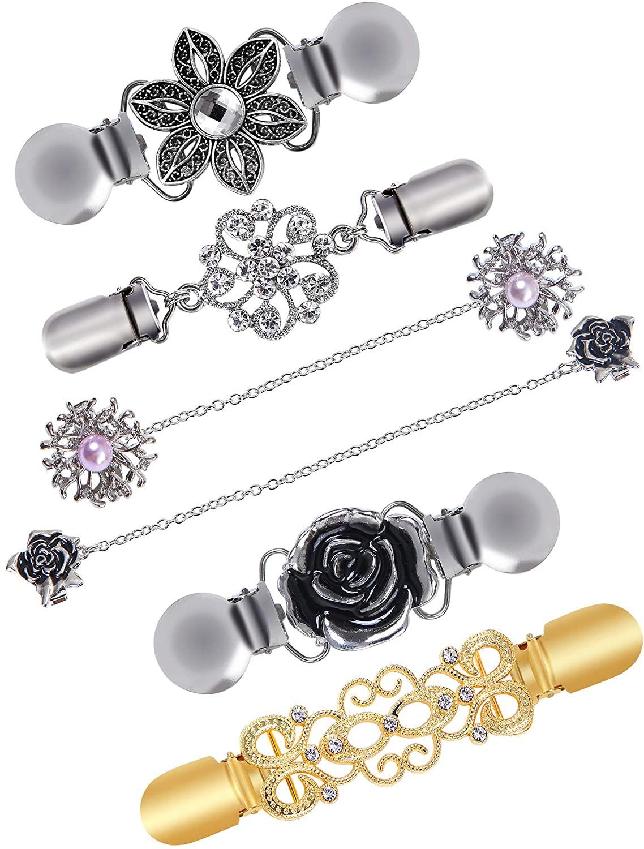Ruisita 6 Pieces Retro Cardigan Clip Sweater Collar Clip Antique Flowers Pattern Shawl Clips Dresses Shawl Clip for Women Girls
