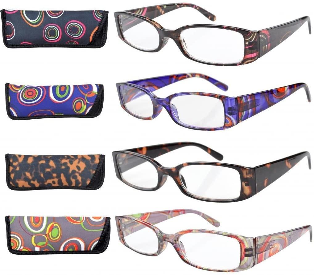 Eyekepper 4 Pairs Pattern Design Reading Glasses for Women Reading +1.00 Stylish Reading Eyeglasses