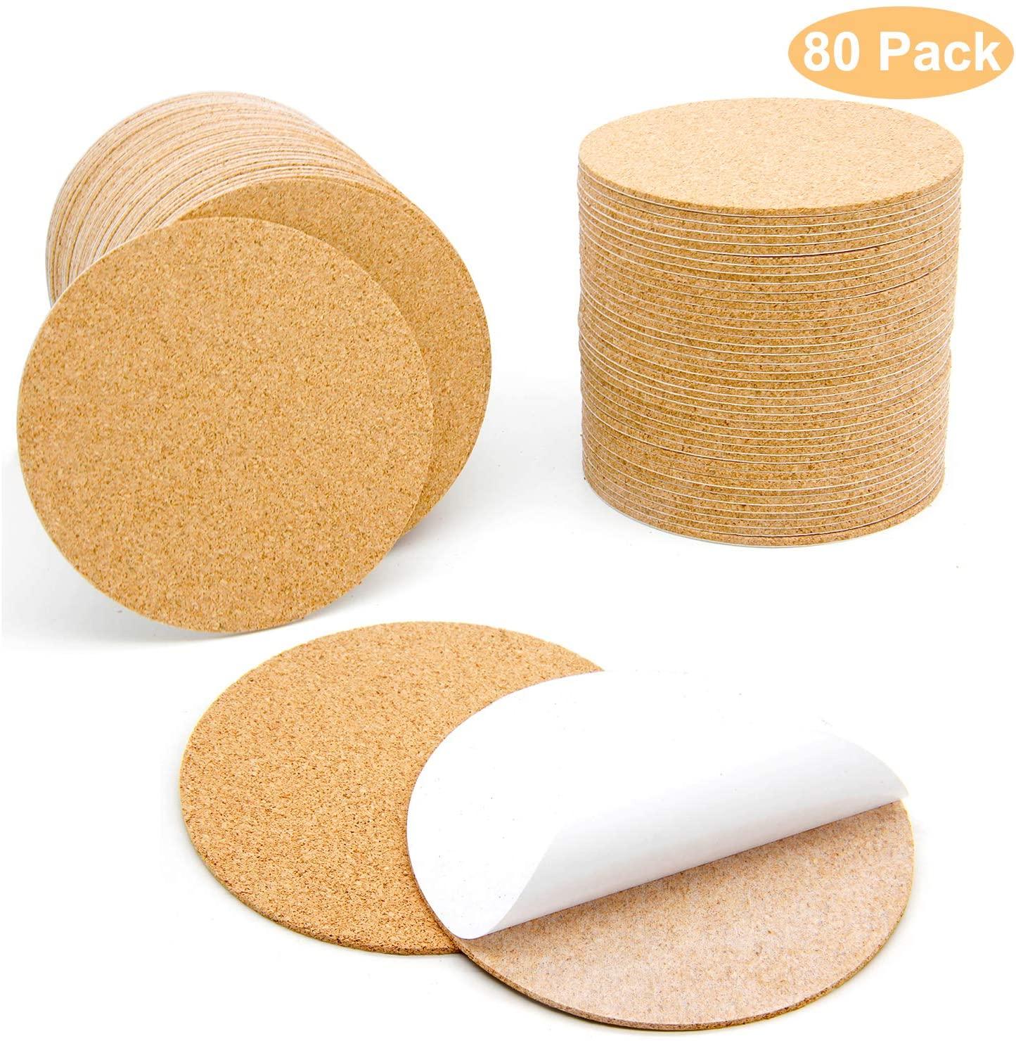Blisstime 80 Pcs Self-Adhesive Cork Round for DIY Coasters, 4