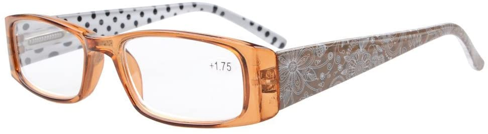 Eyekepper Spring Hinges Polka Dots Patterned Temples Rectangular Reading Glasses Readers Brown +2.0