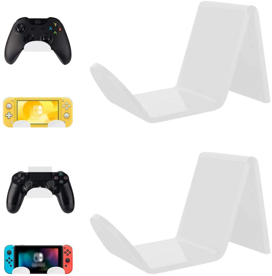 2 Pack Game Controller Wall Mount Holder, Acrylic Stand Hanger with Improved Adhesive Tape Sticker for Xbox One/Elite/ PS4 /Nintendo Switch/Pro/Lite, Universal Gamepad/Headphone Organizer (White)