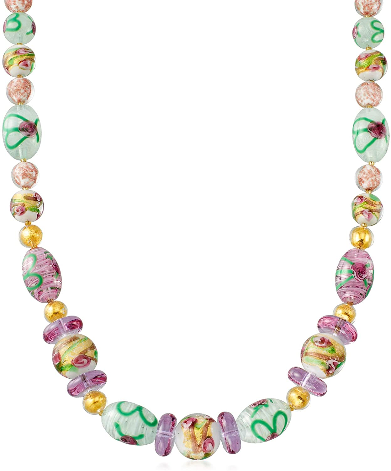Ross-Simons Italian Floral Murano Glass Bead Necklace in 18kt Gold Over Sterling