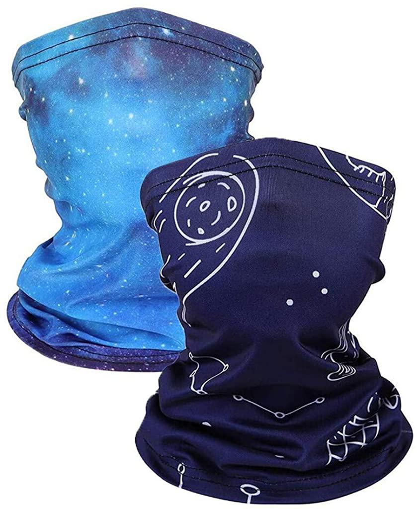 2PC Funny Printed Head Scarf Bandanas Breathable Kids Cycling Fashion Washable Cloth Face_Mask Adjustable Headwear