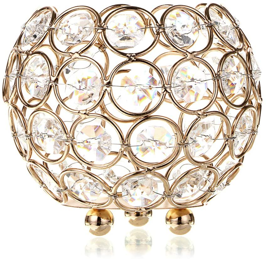 OwnMy Crystal Bowl Votive Candleholder Sparkly Tea Light Candle Holders Candle Lanterns Decorative Candelabra Vase for Christmas New Year Wedding Table Centerpieces (10CM Golden Tone)