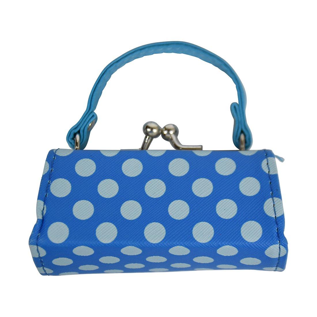 Polka Dot Lipstick Case with Handle Mini Purse - Blue
