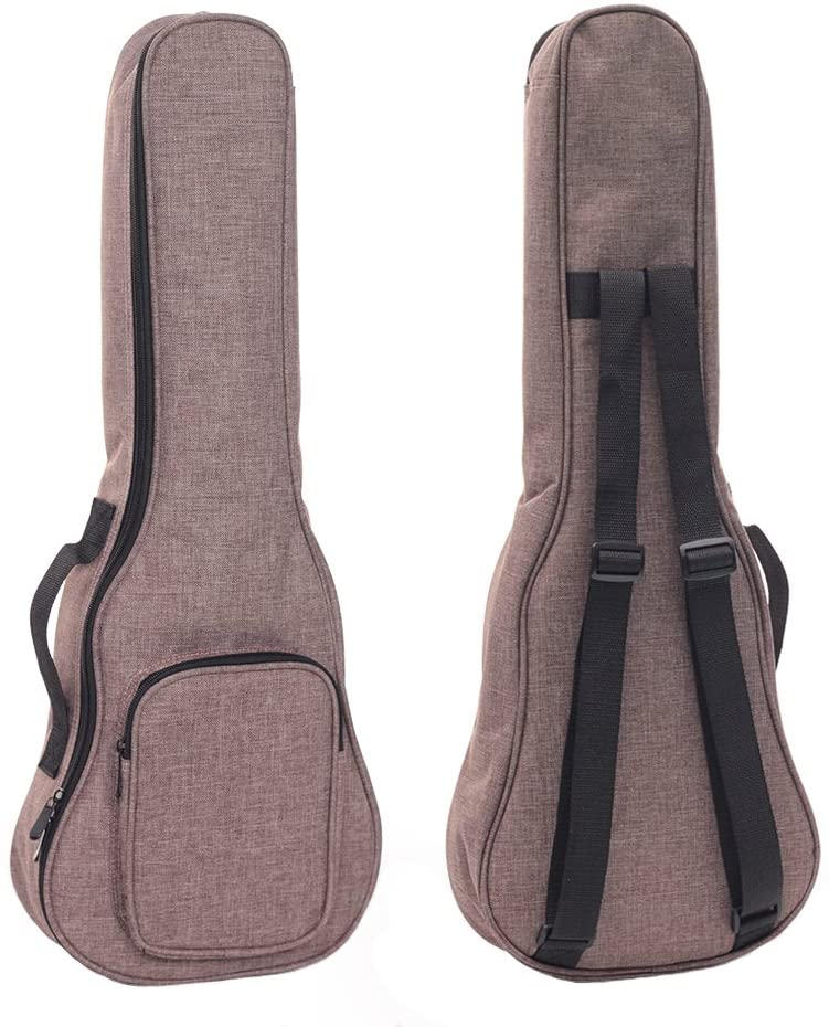 HOT SEAL Simple Linen 10MM Classic Thick Durable Ukulele Case Bag with Large Storage (23/24in, Brown)