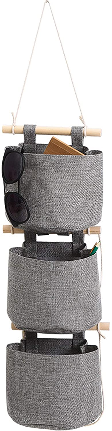 AARainbow 1 Pack Cotton Linen Fabric Closet Detachable Foldable Washable Hanging Storage Bag with 3 Pockets Over The Wall Door Organizer for Room Bathroom (Gray)
