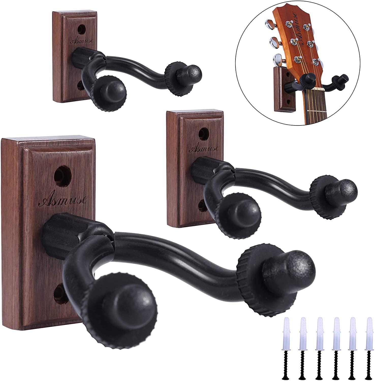 3 Packs Guitar Hanger Real Hardwood Black Walnut Wall Mount Holder for Acoustic Electric Guitar Bass Folk Ukulele Violin Mandolin Banjo 3 Packs (Black Walnut)