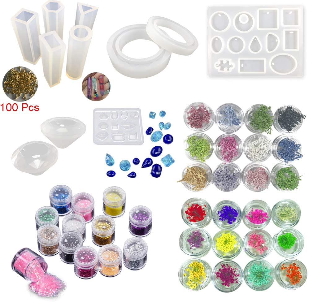 INNICON Silicone Mold Diamond Jewelry Making Pack Glitter Sequins Dried Flower Coral Flakes Glitter For DIY Necklaces Bracelets Charms Handmade Jewelry Craft and Decoration Sets Making