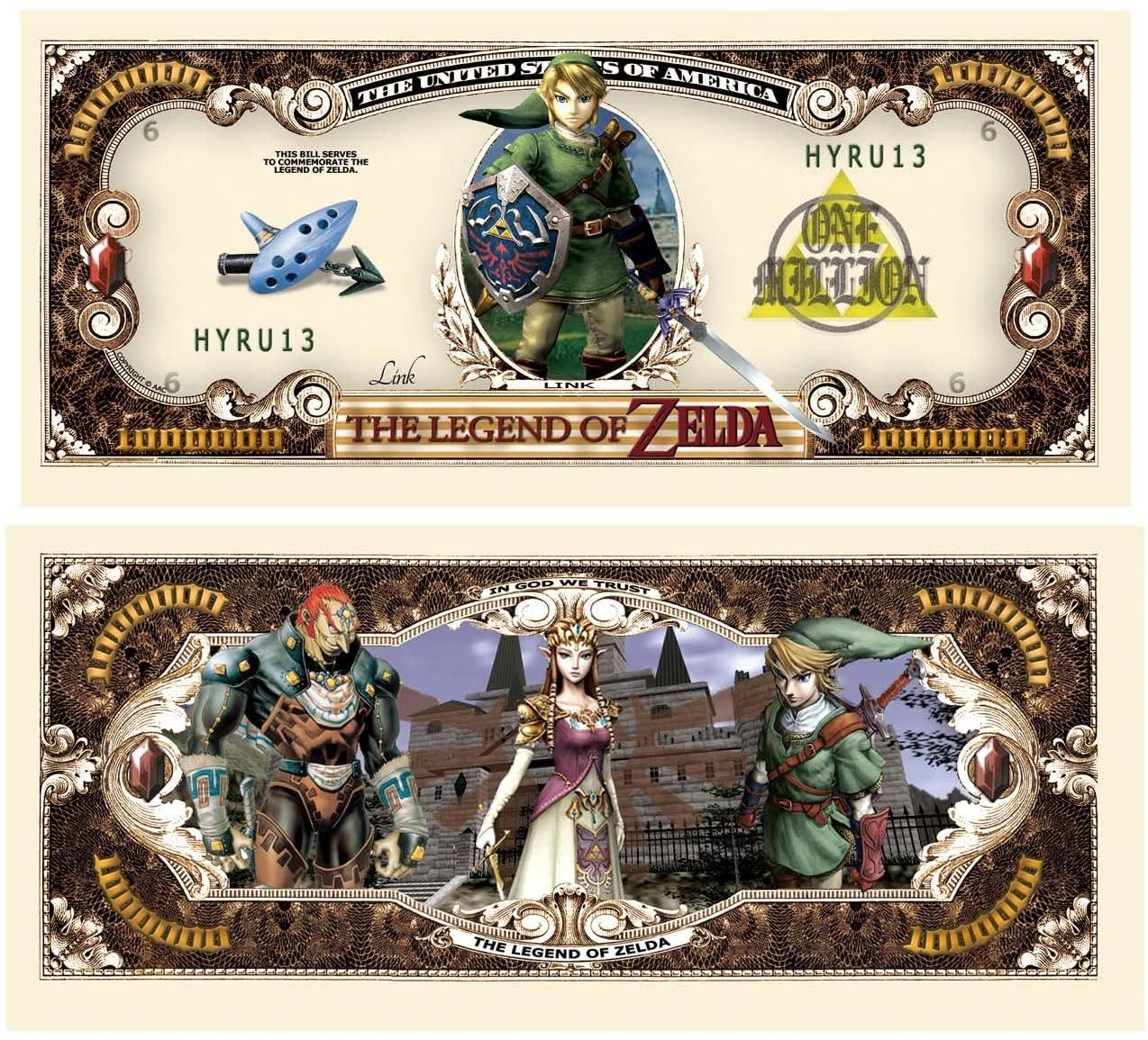 American Art Classics Pack of 100 - Legend of Zelda Limited Edition Collectible Novelty Million Dollar Bill - Best Gift for Zelda Fans Link, Twilight Princess, Ocarina