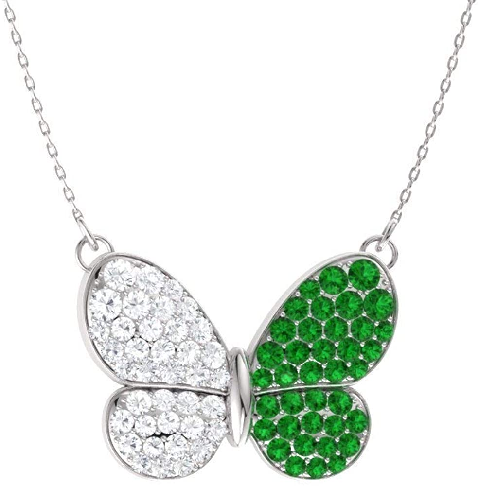 Diamondere Natural and Certified Gemstone and Diamond Butterfly Necklace in 14k White Gold | 1.16 Carat Pendant with Chain