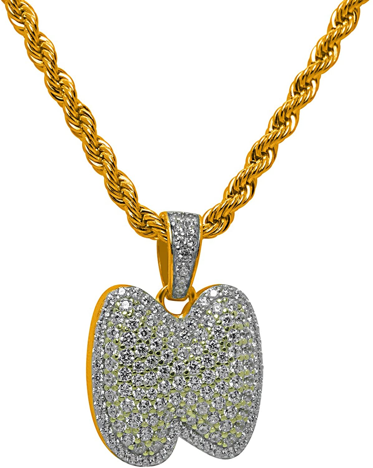 925 Sterling Silver Yellow Gold-Tone Iced Style Bling Hip Hop Bubble Alphabet LetterN Pendant with 24 Rope Chain