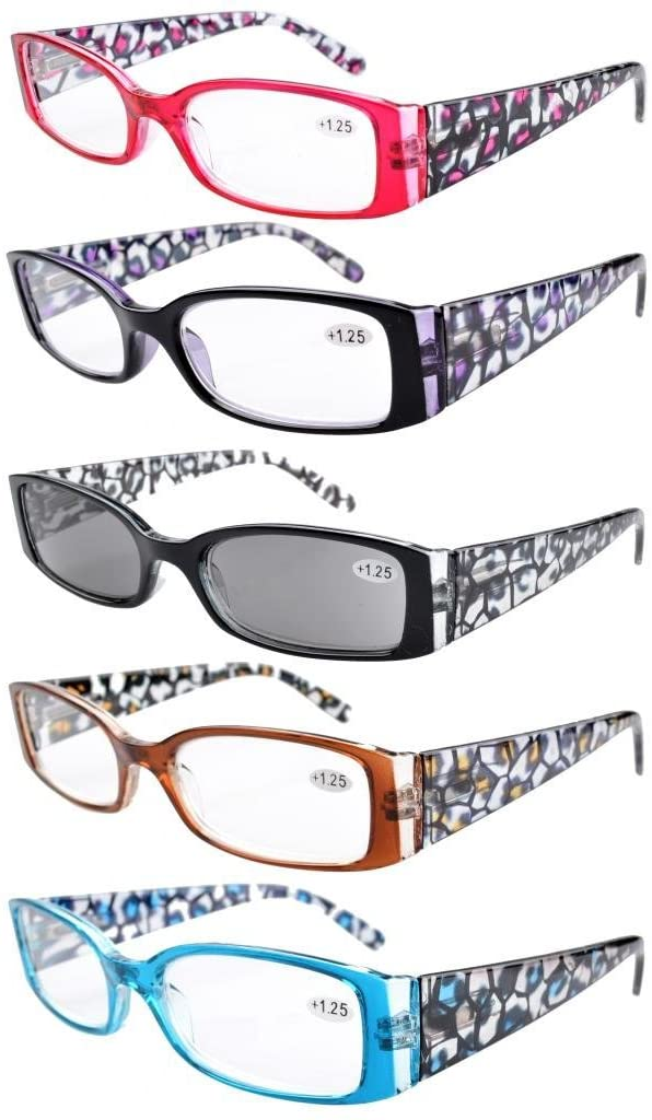 Eyekepper 5-Pack Spring Hinge Reading Glasses Floral Arms Includes Sunglass Readers +0.5