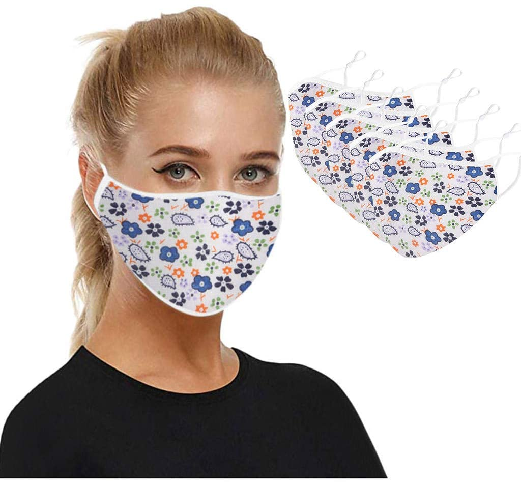 5PC Adults Dust Face Covering, Mouth Covering Unisex Dust Cotton, Washable, Reusable Cotton Fabric Dust Covering
