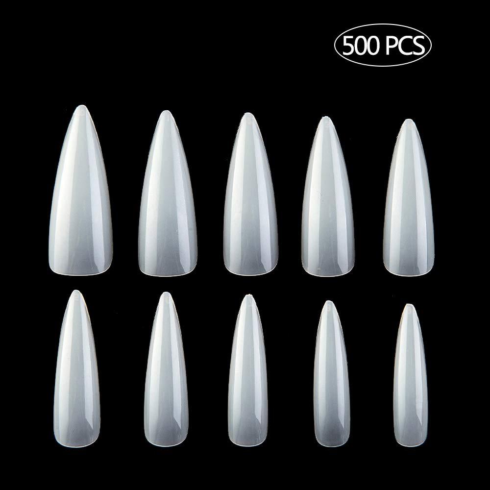500 PCS Stiletto Nail Tips Full Cover Acrylic Fake Nail with Box for DIY Nail Art And Nail Salons 10 Sizes (Natural)