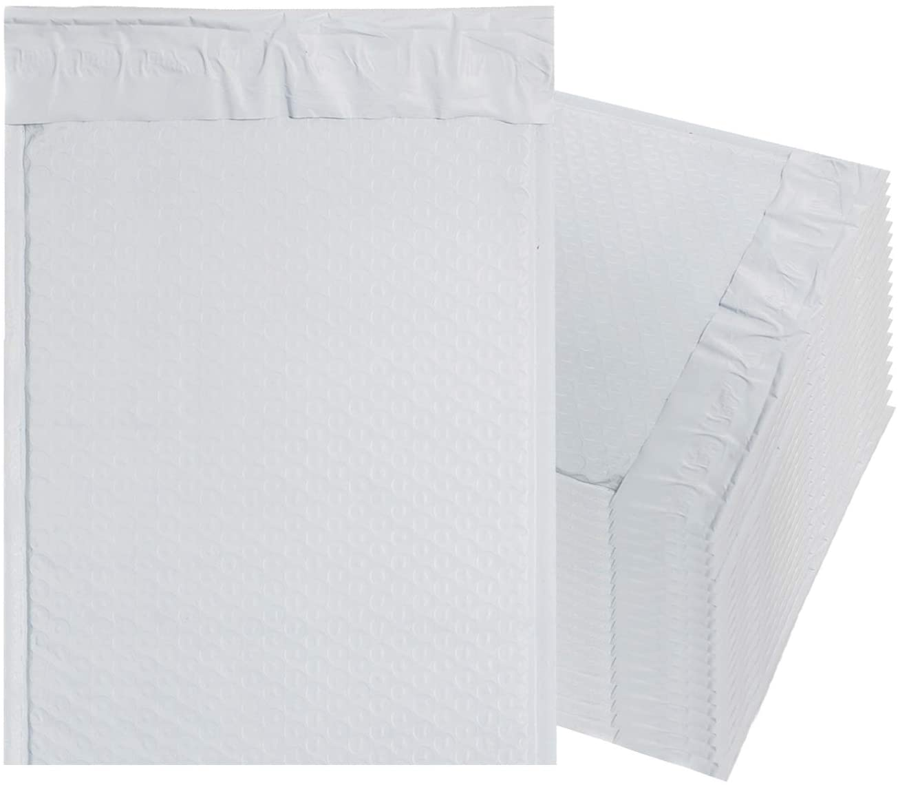 White Poly Bubble mailers 8.5 x 11 Padded envelopes 8 1/2 x 11 by Amiff. Pack of 20 Poly Cushion envelopes. Exterior Size 9.5 x 11. Peel and Seal.
