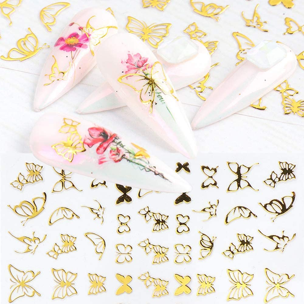 15 Sheets Butterfly Gold Nail Art Stickers, 3D Self-Adhesive Nail Decals, Manicure Decoration Supply Decorative Nail Design, Fingernails Toenails Decor for Women and Girls(Gold Butterfly)