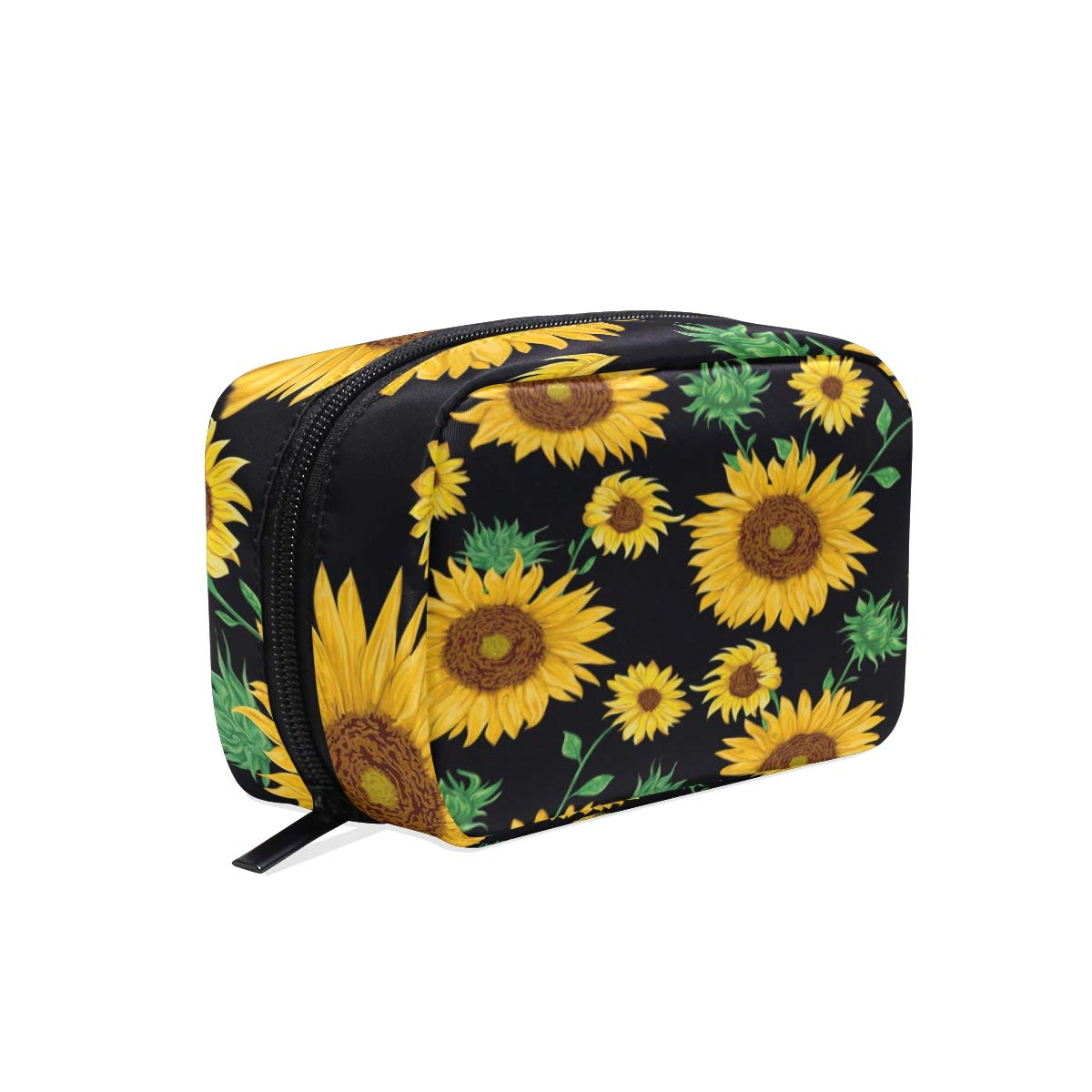 ALAZA Yellow Sunflower Floral Makeup Cosmetic Portable Pouch Bag Organizer Capacity Storage Bag Gift for Women Girls