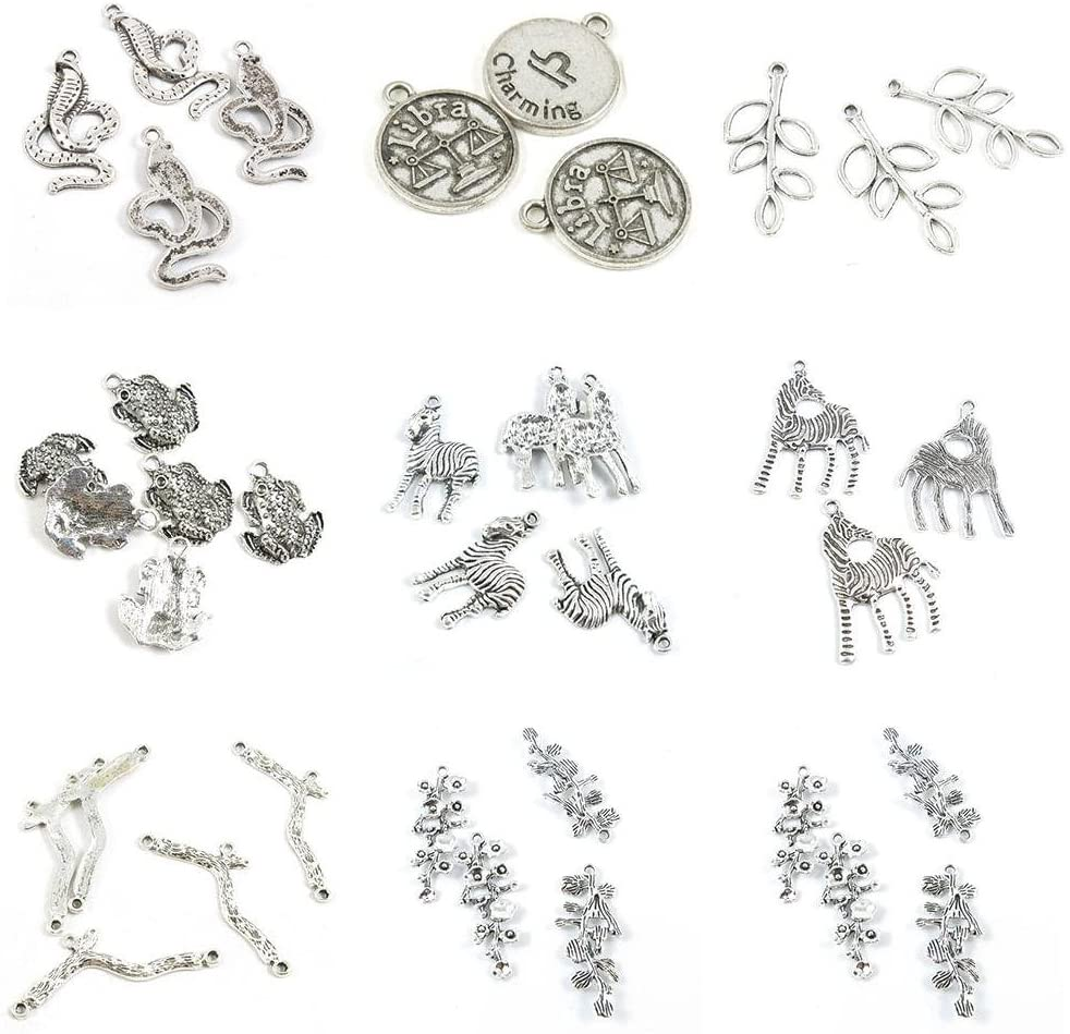 37 Pieces Antique Silver Tone Jewelry Making Charms Plum Flower Blossoms Branch Connector Zebra Horse Brave Troops Fortunate Toad Leaf Leaves Scales Libra Tag Cobra Snake