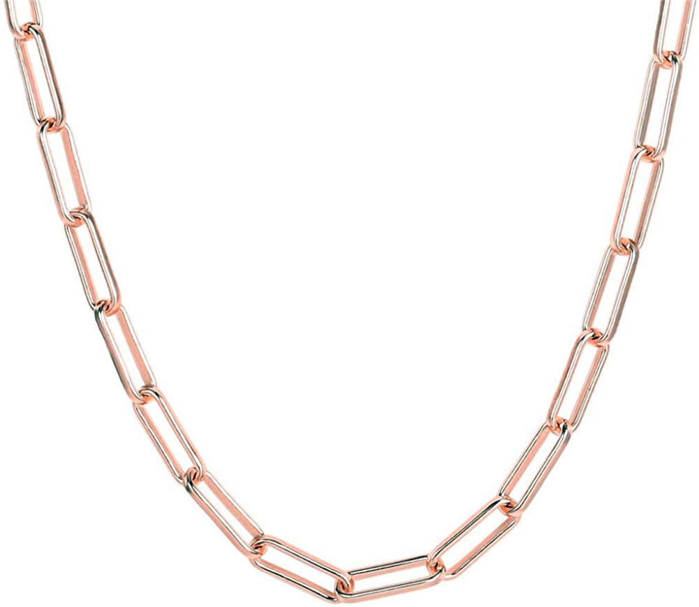 simeco jewelry Dainty Paperclip Real Plated 18K Rose Gold Link Chain Necklace for Women Oval Rectangle Choker Ideal Gifts 24 inch (4 mm)