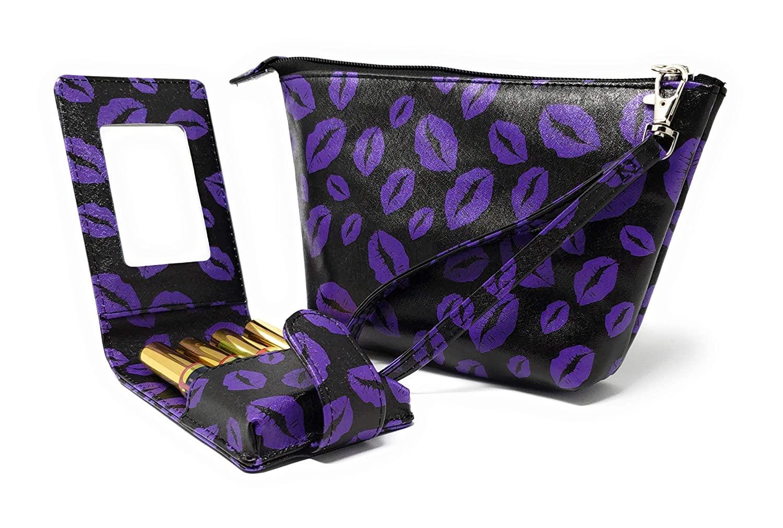Lipsense Lipstick Wristlet & Pouch case Set Carrying Purse Clutch Detachable Travel Tester Bag for storage 16 Elastic Loops⎜Kylie Liquid Lipstick and Lip Gloss Tubes (Purple Lips)